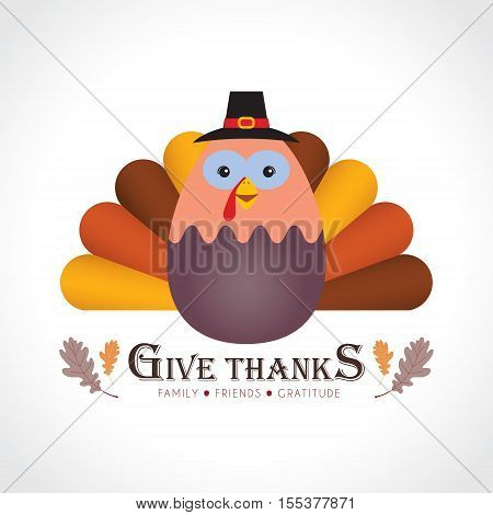 Give thanks / Happy Thanksgiving. Cute cartoon thanksgiving turkey isolated on white background. Vector illustration.