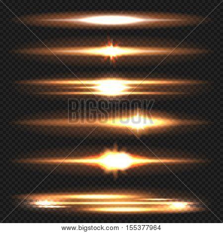Blue horizontal lens flares pack. Laser beams, horizontal light rays. Vector, isolated, eps 10