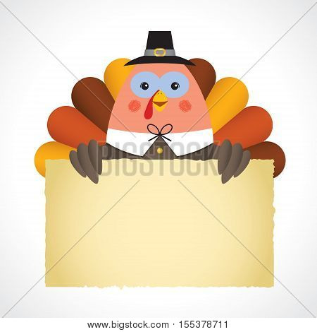 Happy Thanksgiving or give thanks illustration. Cute thanksgiving turkey holding paper isolated on white background. Vector cartoon turkey with message board.