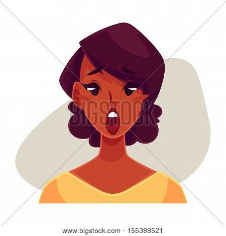 Pretty African girl, surprised facial expression, cartoon vector illustrations isolated on gray background. Black woman surprised, shocked, amazed, astonished. Surprised face expression