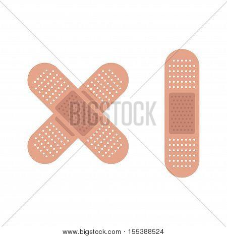 Medical plaster adhesive bandage flexible fabric bandage isolated on white