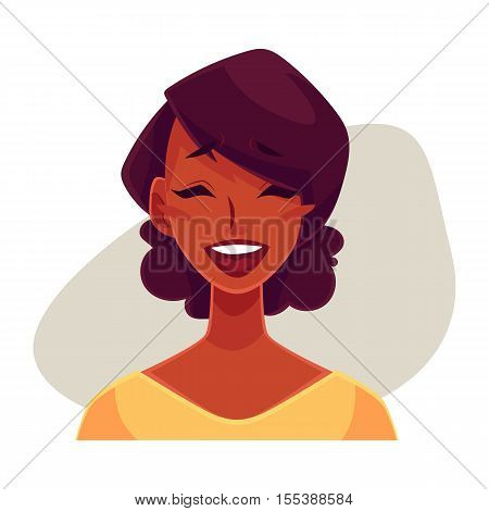 African girl woman, laughing facial expression, cartoon vector illustrations isolated on gray background. Black woman laughing out load with closed eyes and open mouth. Laughing face expression