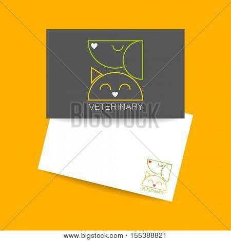 Veterinary clinic. Business card template. Idea for veterinary, pet shop, clinic, pet care, or other animal help and etc. Vector design.