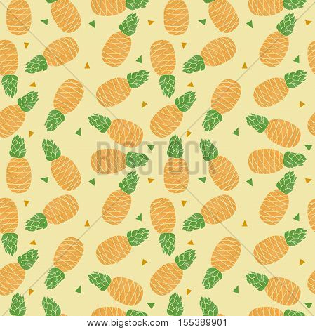 Tropical trendy seamless pattern with pineapples. Pineapples background.