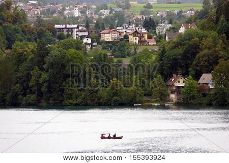 Bled Slovenia. September 5th 2016: Peolpe relax on boat at the Lake Bled Slovenia.