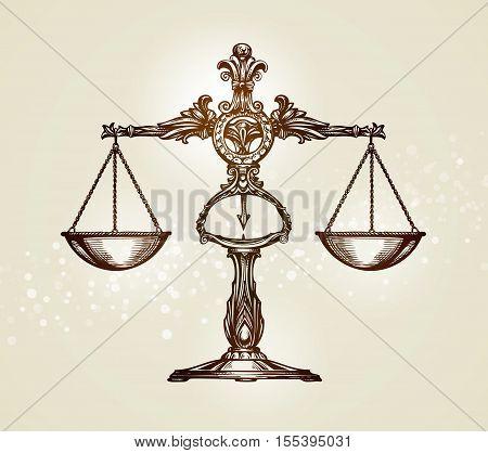 Vintage scales of justice. Hand drawn sketch vector illustration