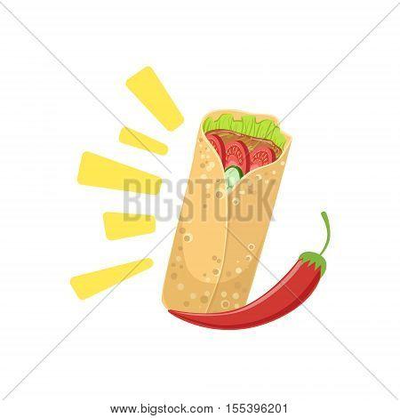 Burrito Mexican Culture Symbol. Isolated Bright Color Vector Object Representing Mexico On White Background