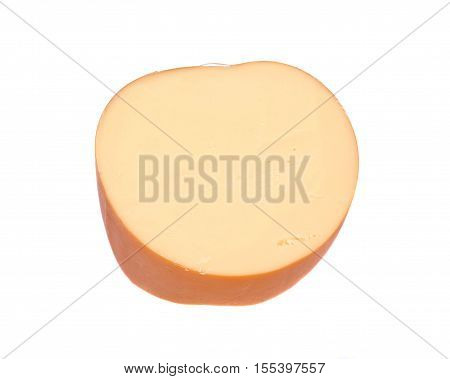Amish farm organic smoked gouda cheese isolated on white background