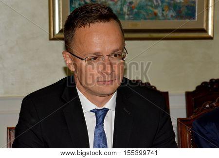 Belgrade, Serbia. September 9th 2016. Minister of Foreign Affairs of Hungary Peter Szijjarto