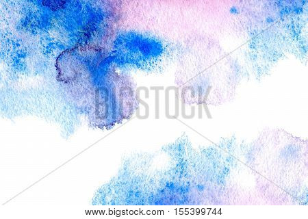 Abstract blue and pink watery frame.Aquatic backdrop.Ink drawing.Watercolor hand drawn image.Wet splash.White background.