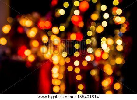 Bokeh lighting decoration on Christmas tree background