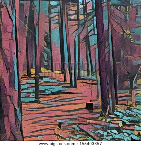 Digital watercolor - Path in the woods