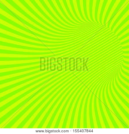 Green Striped Abstract Hypnotic Tunnel. Vector Illustration