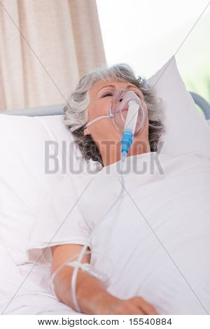 Senior woman with her respirator
