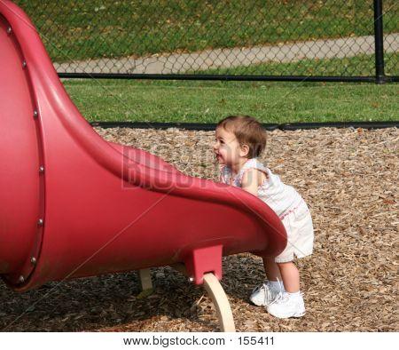 Tiny Girl Big Slide