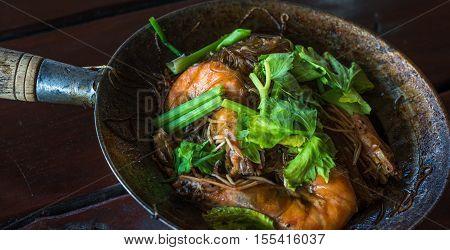 Baked shrimps with glass noodles authentic Thai cuisine