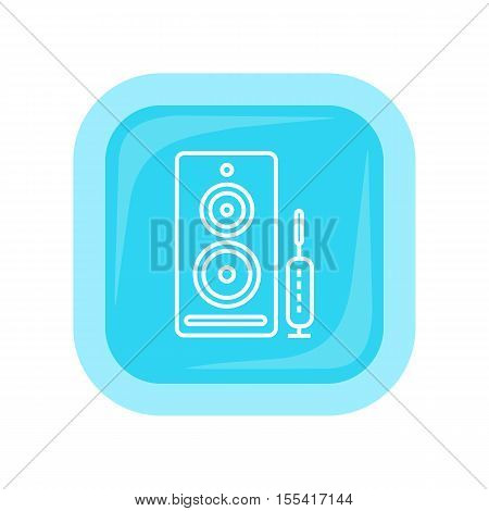 Computer speakers web button isolated on white. PC loudspeakers. Modern stereo system. Acoustic device. Dynamics sign symbol. Amplifier accessories. Dolby surround element. Vector illustration