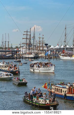 Amsterdam Netherlands - August 20: SAIL Amsterdam 2015 is an immense flotilla of Tall Ships maritime heritage naval ships and impressive replicas.
