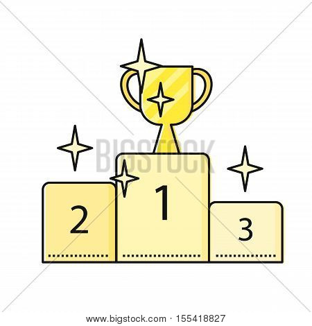 Cup winner on winners podium. Podium winners icon. Pedestal winners. Win icon. Business design element. Design element, sign, symbol, icon in flat. Vector illustration.