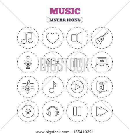 Music icons. Musical note, acoustic guitar and microphone. Notebook, dynamic and headphones symbols. Round flat buttons with linear icons. Vector
