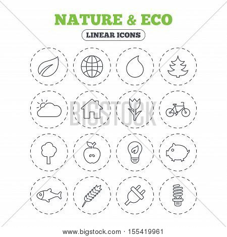 Nature and Eco icons. Trees, leaf and tulip or rose flower. Planet and water drop. Energy saving lamp, electric plug and house building. Round flat buttons with linear icons. Vector