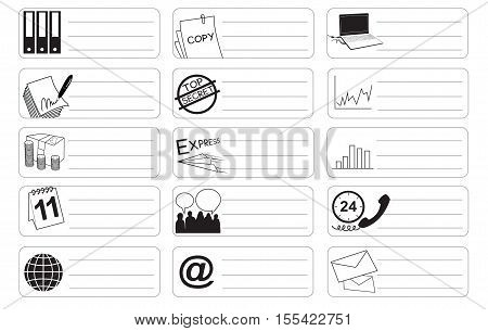 Bank and Stock market icon symbol business industry sticker item print for short note art line black and white color and clipping path.