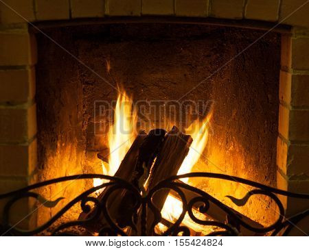 Log burning in the fireplace chamber, closeup
