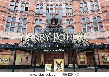 London England - 25 July 2016 : The Palace Theatre in London which is Harry Potter and the Cursed Child play decorated. on 25 July 2016 in London United Kingdom