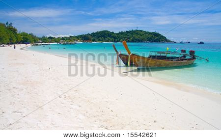 Beautiful beach and sea with longtail boat on Koh Lipe, Andaman Sea,Thailand