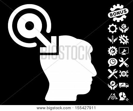 Brain Interface Plug-In pictograph with bonus options pictograph collection. Vector illustration style is flat iconic white symbols on black background.