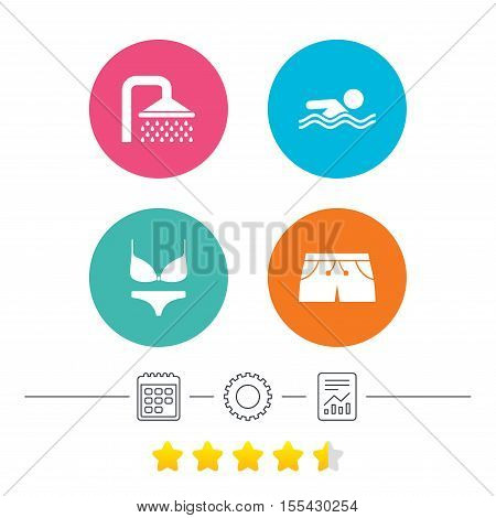 Swimming pool icons. Shower water drops and swimwear symbols. Human swims in sea waves sign. Trunks and women underwear. Calendar, cogwheel and report linear icons. Star vote ranking. Vector