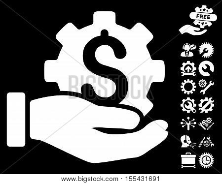 Development Service pictograph with bonus tools pictograph collection. Vector illustration style is flat iconic white symbols on black background.
