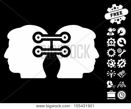 Dual Heads Interface Connection pictograph with bonus tools icon set. Vector illustration style is flat iconic white symbols on black background.