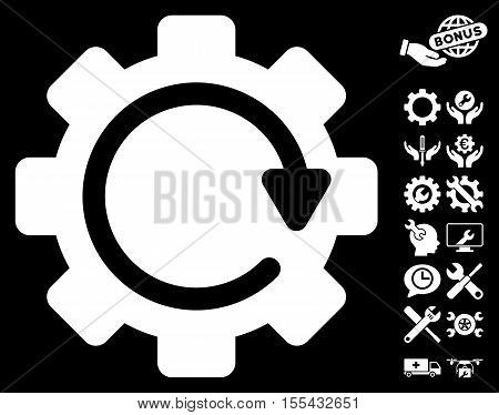 Gear Rotation Direction pictograph with bonus tools pictograph collection. Vector illustration style is flat iconic white symbols on black background.