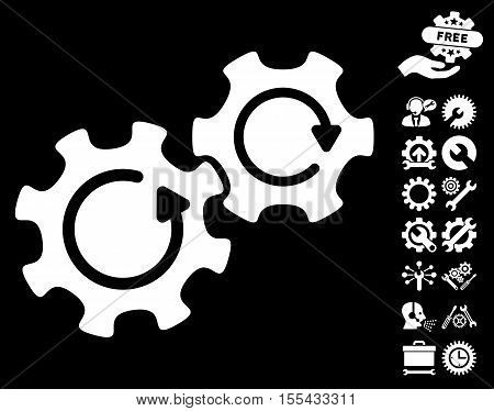 Gears Rotation pictograph with bonus service pictograph collection. Vector illustration style is flat iconic white symbols on black background.