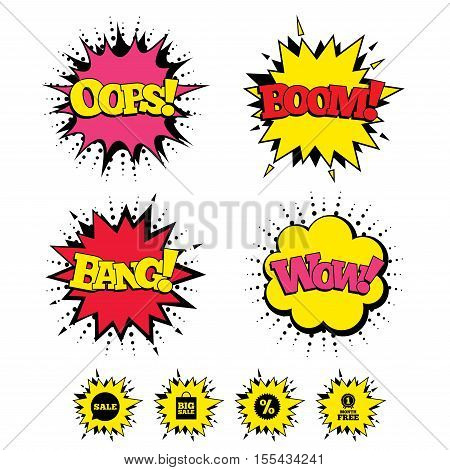 Comic Boom, Wow, Oops sound effects. Sale speech bubble icon. Discount star symbol. Big sale shopping bag sign. First month free medal. Speech bubbles in pop art. Vector