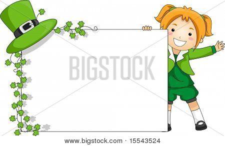 Abbildung eines Mädchens halten ein St. Patrick-Themen-Banner