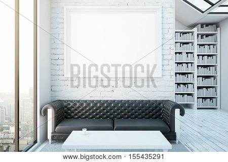 Creative interior with blank picture frame luxurious brown leather sofa coffee table bookshelves and city view. Modern library concept. Mock up 3D Rendering