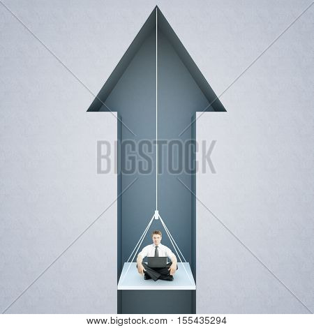 Young guy with laptop suspended on rope inside abstract grey arrow. Success concept. 3D Rendering