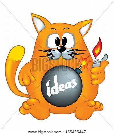 Bomb-like cat logo concept. Cat with lighter and bomb trying to explode by ideas