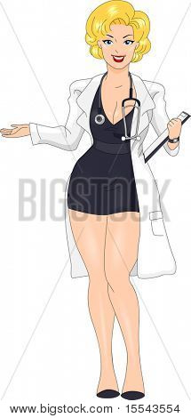 Illustration of a Pin-up Girl Wearing a Doctor's Uniform