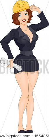 Illustration of a Pin-up Girl Dressed Like an Engineer