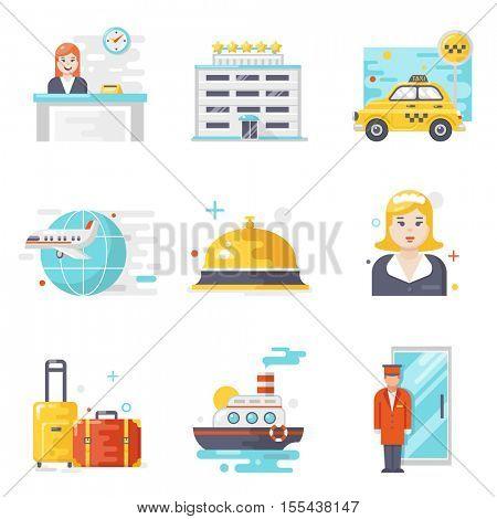 Hotel service icons, flat design