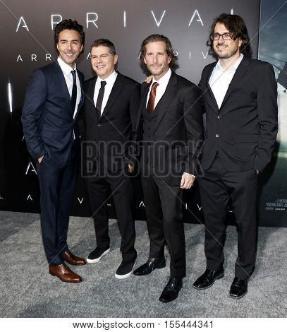 Shawn Levy, Dan Levine, Aaron Ryder and Dan Cohen at the Los Angeles premiere of 'Arrival' held at the Regency Village Theater in Westwood, USA on November 6, 2016.