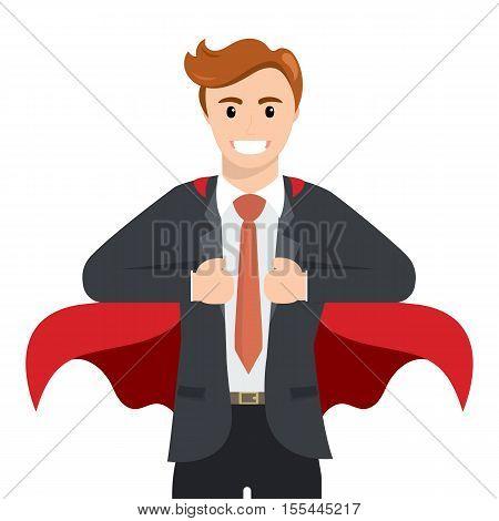 Happy smiling businessman turns in Superhero suit. Super Businessman. Business concept illustration. Superhero with a red cape, vector illustration , flat design.