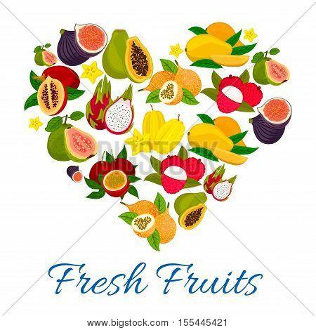 Heart emblem of fresh exotic tropical fruits. Fruit love label of sweet figs, mango, papaya, lychee, dragon fruit, carambola, guava, passion fruit