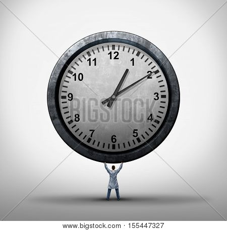 Medical time concept as a doctor or general practitioner holding a giant clock as a hospital appointment and patient care or surgery schedule management with 3D illustration elements.