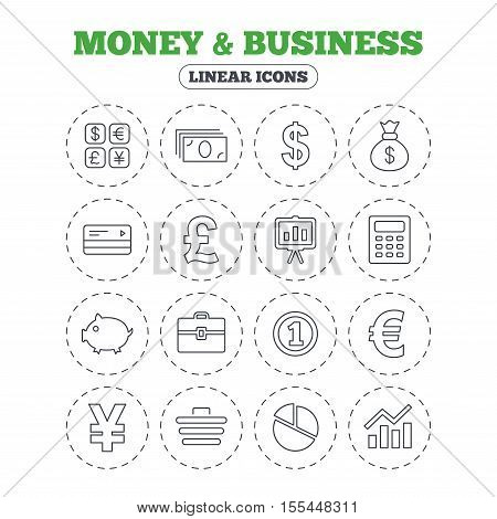 Money and business icons. Cash and cashless money. Usd, eur, gbp and jpy currency exchange. Presentation, calculator and shopping cart symbols. Round flat buttons with linear icons. Vector