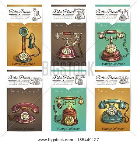 Old vintage retro phones with receivers, dials, wires. Banners and cards. Sketch icons on color background