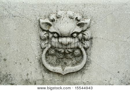 Stone lion. A relief. China. Nanjing